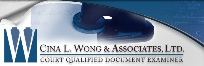 Notary Stamp Forgery, Forensic Forgery - Cina L. Wong & Associates, Ltd. Court Qualified Document Examiner