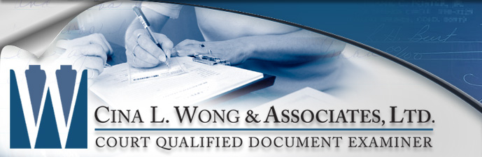 Detecting Tampering  Medical Records, Altered Medical Records - Cina L. Wong & Associates, Ltd. Court Qualified Document Examiner