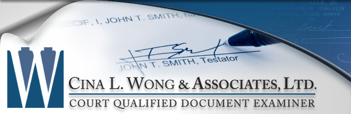 Handwriting Experts in Virginia, Handwriting Services VA - Cina L. Wong & Associates, Ltd. Court Qualified Document Examiner
